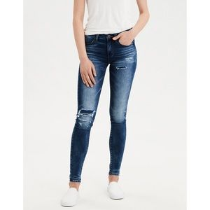 AEO Long Super Stretch Jegging Patched Distressed